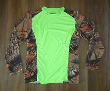 TRAIL CREST Bright Neon Green Real Tree Camo HUNTING SHIRT Compression Sz SMALL