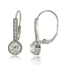Sterling Silver Round Cubic Zirconia Leverback Earrings