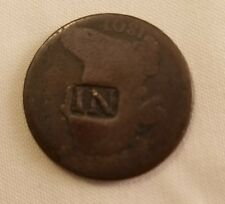 IN countermark host 1801 draped bust large cent counterstamp trade token