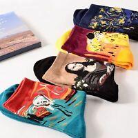 1 Pair Retro Unisex Men Women Painting Art Short Socks Soft Cotton Socks