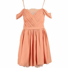 FOREVER UNIQUE Women's BECKY Orange Chiffon Draped Off Shoulder Dress, size UK 8