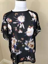 Women's ZARA COLLECTION Black Multi-Colored Blurred Floral Short Sleeve Top - M