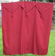 BURGUNDY SHOWER CURTAIN WITH ATTACHED POINTED VALANCE WITH TASSELS