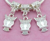 30pcs Silver Plated Owl Dangle Charms Beads For European Charm Bracelet SY39