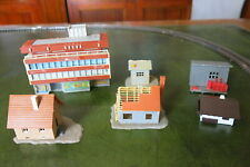 Six N scale buildings.  Faller and other