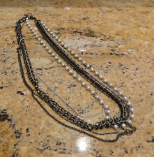 Nordstrom Sequin Multi Strand Necklace Brown Bronze Pearl Chains Beautiful!