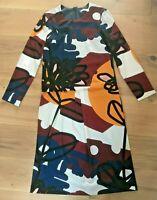 FINERY Dress Bold Colourblock Print Long Sleeved Midi UK10 EU38