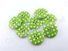 8 HOLZKNÖPFE - Kinderknöpfe - Weiße Punkte auf Grün - Ø 25mm - B-Ware