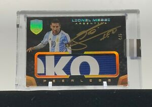 Lionel Messi Gold On-Card Jersey Patch Auto /5 2018 Eminence Soccer World Cup