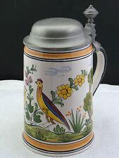 Sammelkrug  Keramik mit Zinndeckel handbemalt Rastal 1983