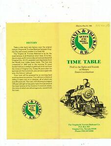 M1774  1980 VIRGINIA TRUCKEE SHORTLINE RAILROAD TIME TABLE NEVADA