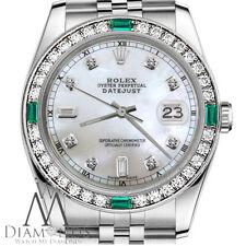 Unisex Rolex 36mm Datejust White MOP  8+2 Emerald Diamond Dial RT Watch