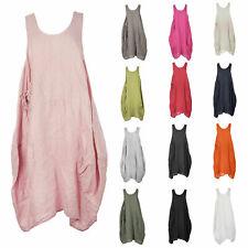 Women Italian Lagenlook Pocket Plain Sleeveless Linen Midi Tulip Dress Plus Size