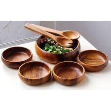 7pc  Monkey Pod Socorro Salad Set, Acacia Wood, Salad Bowl/4 Bowls/Servers