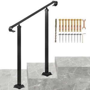 VEVOR Wrought Iron Handrail Stair Railing Fit 1 or 2 StepsAdjustable Hand Rail