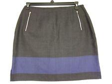 Vintage Emanuel Ungaro women's skirt size 14 wool zippered pockets gray blue