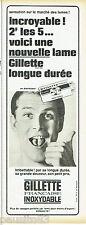 PUBLICITE ADVERTISING 115  1965  GILLETTE lames de rasoir