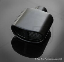 "Black Exhaust Muffler Tip Split Center Oval 2.25"" Inlet 5.75"" wide & 3"" tall OD"
