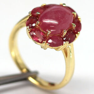 NATURAL 7 X 11 mm. CABOCHON & OVAL RED RUBY RING 925 SILVER SIZE 7