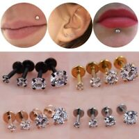 Body Piercing Round Clear Stone Tragus New Labret Ear Lip Nose Titanium Earrings
