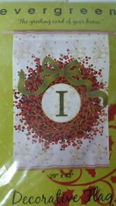 EVERGREEN  DECORATIVE INITIAL HOLIDAY FLAG  29 X 43  LETTER I CHRISTMAS WREATH