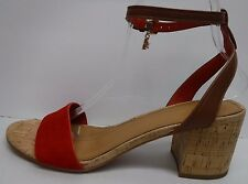 Coach Size 9.5 Red Brown Leather Sandals New Womens Shoes
