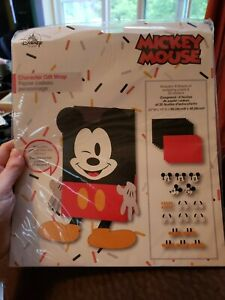 Disney Store Character Gift Wrap Set Mickey Mouse Wrapping Paper Stickers NEW