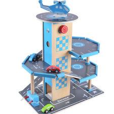 Parkgarage Holz Parkhaus 3 Etagen mit Aufzug 4 Autos Hubschrauber Spielzeug