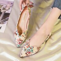 Womens Ladies Floral Pointed Toe Flats Loafers Pregnant Bride Oxfords Shoes Plus