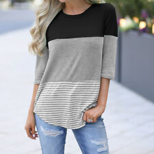 Summer Womens Striped Tops Blouse Ladies Short Three Quarter Sleeve T-Shirt Plus