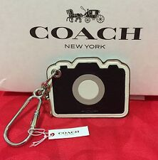 NEW  Coach Leather Camera Bag Charm / Key Chain  F54913 Black/White $70