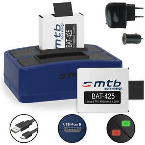 Dual-Ladegerät + 2x Akku für Rollei Actioncam 425 (4K 2160P)
