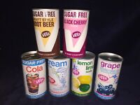 6 1970's Vess Soda Cans Cola Cream Soda Lemon- lime Grape Root Beer Black Cherry