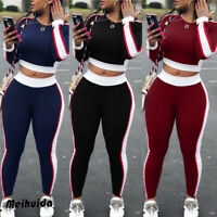 US 2Pcs Women's Tracksuit Hoodies Sweatshirt Pants Sets Sport Wear Casual Suit