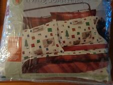 Living Quarters TWIN complete set flannel bedsheets NEW w ski skiers skiing