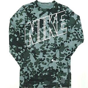 NIKE PRO Compression Shirt LS Black Gray Camo White Logo Training Youth Boys XL