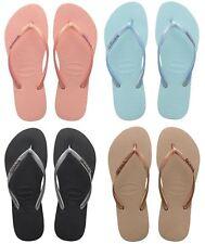 Havaianas Brazil Women Flip Flops Vary Colors Slim Metallic Logo Sandal All Size