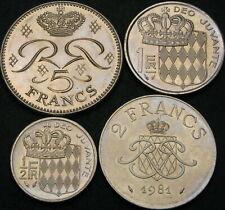 MONACO 1/2, 1, 2, 5  Francs 1981/1989 - 4 coins - 991 ¤