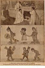 IMAGE 1917 PRINT NOEL CHEMINEE ENFANTS JOUETS DE GUERRE WAR TOYS