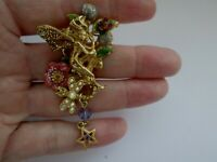Vintage Signed Kirks Folly Glitter Enamel Cherub Flowers Dragonfly Brooch Pin