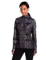 Merrell Womens 1/4 Zip Running Jacket Pullover UPF 50 Black Gray Size XXS NWT