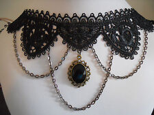 Black Lace Choker Cosplay Victorian Vintage Chain Crystal Pendant Necklace