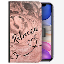Initial Phone Case, Personalised Name & Heart Pink Marble PU Leather Flip Cover