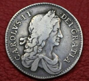 1663 shilling Charles II first milled bust silver good fine superb natural tone!
