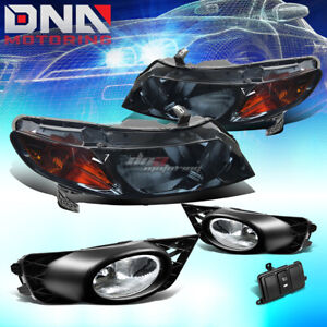 SMOKED HEADLIGHT+AMBER TURN SIGNAL+CHROME FOG LAMP+SWITCH FOR 09-11 CIVIC 4DR
