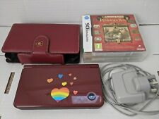 Nintendo DSi XL Console,,Burgundy plus case incl 2 games