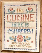 "Vintage Cross Stitch Sampler Framed Kitchen Theme 11""X 14"" Dated & Signed 1982"