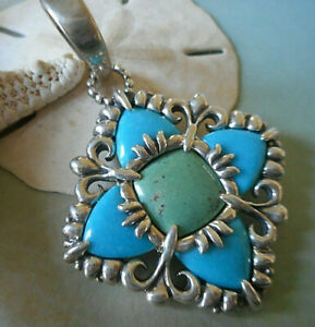 Carolyn Pollack Reversible Blue Green Turquoise Sterling Silver Pendant 17N31