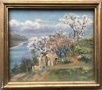 Ölgemälde Baumblüte am Ufer See Küste Italien? Anonym 33 x 38 cm