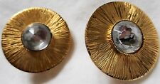 SONIA RYKIEL Vintage 1980s Earrings Gold Clear Cabochon Swarovski Crystal Glass